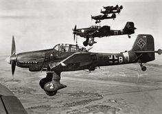 """German dive bombers """"Junkers"""" Ju-87 in flight at Stalingrad"""