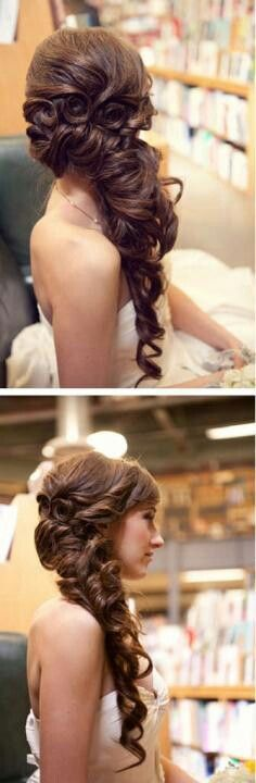 Love this hair style! Cascading curls to one side.