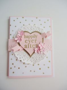Happily Ever After Wedding Congratulations handmade greeting card - One of a kind - Blush pink and gold - Forever & always by JustforUnotes on Etsy