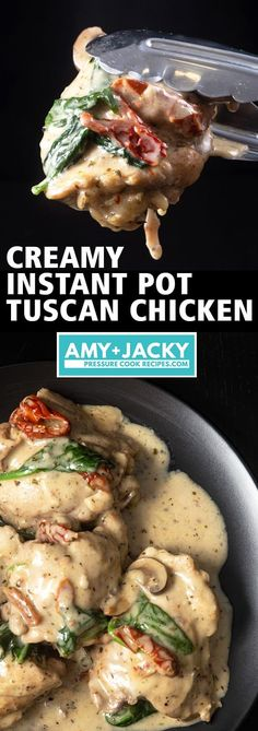 Make this Italian-inspired Creamy Instant Pot Tuscan Chicken Recipe (Pressure Cooker Tuscan Garlic Chicken). Tender chicken immersed in simple yet richly balanced creamy garlic sauce with caramelized mushrooms and sweet sun-dried tomatoes. Crazy satisfying easy weeknight meal!