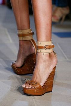 Cognac leather and wood wedges with ankle strap - Belstaff Spring 2013