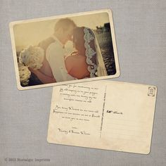 Vintage Wedding Thank You Postcards - the Narissa via Etsy