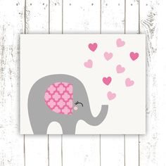 Elephant Nursery Art Print in Pink and Grey - Modern Jungle Nursery Baby Elephant Print with Hearts