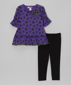 Take a look at this Purple Polka Dot Sequin Trim Tunic & Leggings - Toddler by Baby Ziggles on #zulily today!