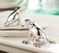 Frog Salt & Pepper Shakers #potterybarn - How fun would this be on a Passover Table.