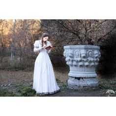 Wedding Dress Found Princess Medieval Dress Fantasy Style Dress; (£160) ❤ liked on Polyvore featuring dresses, white, women's clothing, layered lace dress, white sleeve dress, puffy dresses, draped dress and white puffy dress