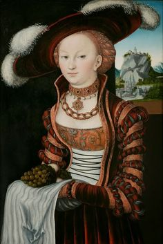'Portrait of a Young Woman Holding Grapes and Apples' by Lucas Cranach the Elder, 1528