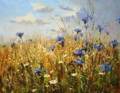 Field and cornflowers, by Russian artist, Stepan Nesterchuk (1978)