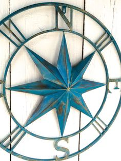 Metal Compass Wall Art Metal Wall Decor Nautical by honeywoodhome