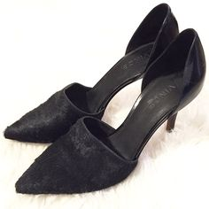 """❗️FINAL PRICE❗️NWD Vince Calf Hair d'Orsay Pump Authentic Vince Claire pumps, never worn outside, like new condition but please note the right shoe is a size 38/7.5 & left shoe is 37.5/7. Best for true US sz 7.. They are easily made the same size by adding a heel grip or insert, size difference is minimal. The price has been reduced to reflect this flaw. Black dyed calf-hair pump. 3.5"""" covered heel. Pointed toe. High-cut vamp. Polished leather heel counter. d'Orsay silhouette. Lightly padded…"""