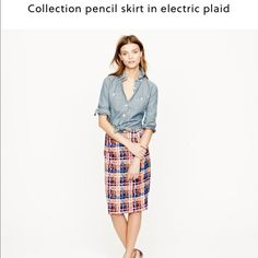 """J. CREW COLLECTION ELECTRIC PLAID PENCIL SKIRT 4 J. Crew collection pencil skirt in electric plaid. Size 4. Pristine condition, never worn, no imperfections. Invisible back zip with stretchy waist. Waist lying flat across 16"""", length down front center 23"""".    Reasonable offers welcome 〰 ALL measurements are approximate   Sorry, NO trades ❗️NO MODELING pics  Ships w/in 24 hrs  J. Crew Skirts Pencil"""