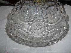 Antique THICK heavy Nucut   glass bowl saw tooth edge pinwheel star  #unknown