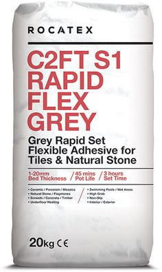 Mega Pallet and Bulk Buy FREE DELIVERY deals on ROCATEX C2FT S1 Rapid Flex Grey - a single part, flexible wall and floor tile adhesive for fixing natural stone and tiles including ceramics, porcelain and mosaics to a variety of substrates. Sutable for interior and exterior use. #rocatext #buythepallet #palletdeals #bulkbuy #freedelivery Electric Underfloor Heating, Adhesive Tiles, Grey Tiles, Tongue And Groove, Wire Brushes, Wall And Floor Tiles, Heating Systems, Mosaics, Free Delivery