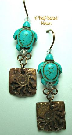 Week 32: Lovely Kristi Bowman copper charms paired with fun turtles on handmade Ghanian decorative headpins.