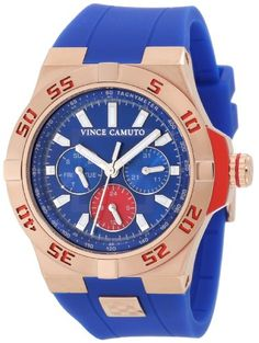 Vince Camuto Men%27s VC%2F1010BLRG The Master Rosegold-Tone Multi-Function Blue Resin Strap Watch