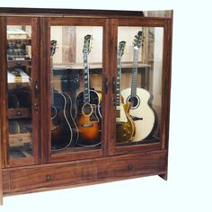 """""""A custom Guitar Habitat® with cigar humidor, two humidifiers and separate humidification zones. Guitar Display Case, Guitar Storage, Guitar Rack, Guitar Crafts, Guitar Diy, Music Furniture, Furniture Ideas, Guitar Humidifier, Guitar Cabinet"""