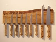 Chef's Size Live Edge Myrtle Magnetic Knife Rack. by driftedge