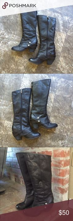 "8/21 HP  Fergie genuine leather boots Knee high Black, about 3"" heel, Fergie boots, leather, faux snap detail, some wear on the heels but soles still good condition with tons of wear left. Leather is perfectly broken in. Fergie Shoes Heeled Boots"
