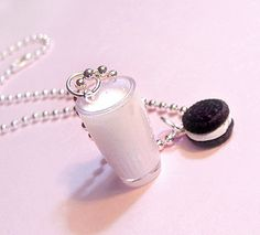 Milk and Cookies Necklace - Oreo Cookie Necklace - Cute Kawaii Food Jewelry for Little Girls, Teens and Tweens