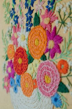 hand embroidered crewel flowers by June Vintage, via Flickr