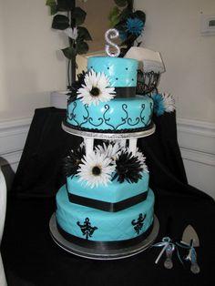 Tiffany Blue Wedding Cakes | Leilani's Heavenly Cakes: Tiffany Blue and Black Wedding Cake