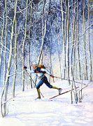 Cross Country Skiing Art - Whispering Tracks by Hanne Lore Koehler