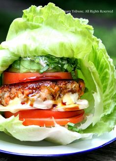 Lettuce-Wraped Salmon Quinoa Burger + Avocado