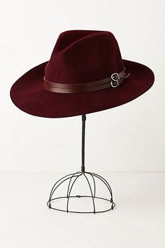 leather-trimmed rancher hat Oxblood red is a quintessential color for fall, so why not sport this hue in the form of a gorgeous wool rancher hat? Women's Accessories, Fall Hats, Mein Style, Love Hat, Fashion Mode, Oxblood, Hats For Men, Clothing Items, Beret
