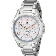 Tommy Hilfiger Sophisticated Sport Analog Display Quartz Silver Watch found on Polyvore featuring polyvore, fashion, jewelry, watches, quartz watches, water resistant watches, sports bracelet, engraved silver bracelet and adjustable bracelet