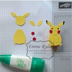 I shared some Pikachu punch art on my facebook page yesterday, and got so many requests for instructions that I just had to do a tutorial, so here it is! All you need is the Owl builder punch, the Fox builder punch, scissors, glue, and a black pen. I used Daffodil Delight cardstock for the