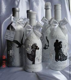 Свадебные бутылки в ассаотименте - белый,свадебное шампанское,свадебное оформление