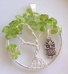 Tree of Life Pendant - Peridot Bonsai with Owl - Wire Wrapped Silver - Medium Size