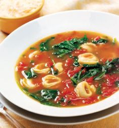 Garlicky Tortellini, Spinach and Tomato Soup