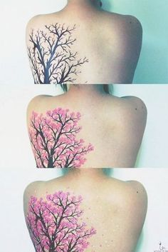 Girls Full Back Cherry Blossom Tree Tattoo