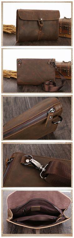 Handmade Genuine Natural Leather Clutch, Messenger Bag, Shoulder Bag
