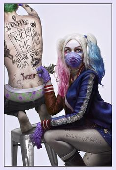 #Suicide_Squad cosplay and fanart by Mykie aka @GlamAndGore and her boyfriend Chase #Harley_Quinn #The_Joker