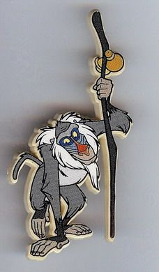 Walt Disney's The Lion King - Rafiki Monkey Rare Pin/Pins  This pin was made exclusively for the European Market and it is plastic in composition. It has the Disney Copyright on the back of the pin. The pin is a tack back pin the tack back is metal.