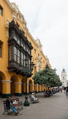 Lima, Peru City Hall has historic balconies.