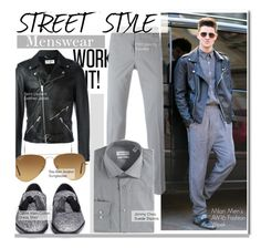 """STREET STYLE-Menswear"" by kusja ❤ liked on Polyvore featuring Yves Saint Laurent, PT01 Pantaloni Torino, Calvin Klein, Jimmy Choo, Ray-Ban, men's fashion, menswear, StreetStyle and fashionWeek"