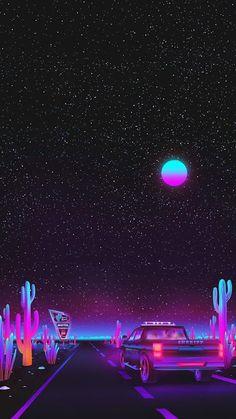 Vaporwave night sky by Agathe Marcellin Tumblr Wallpaper, Wallpaper Pastel, Trippy Wallpaper, Iphone Background Wallpaper, Aesthetic Pastel Wallpaper, Cellphone Wallpaper, Aesthetic Wallpapers, Retro Wallpaper Iphone, Iphone Backgrounds Tumblr