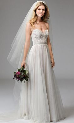 Wtoo Spring 2017 strapless illusion V-neck lace bodice wedding dress with natural waist and belt