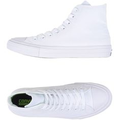 Converse All Star High-tops & Trainers (5.695 RUB) ❤ liked on Polyvore featuring shoes, sneakers, converse, white, white flat sneakers, white high tops, converse high tops, white flat shoes and high top shoes