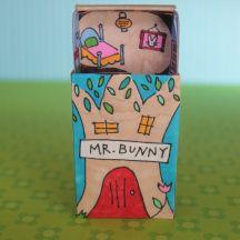 Mr. Bunny's Matchbox, free printable, gyufásdoboz ház sablonnal