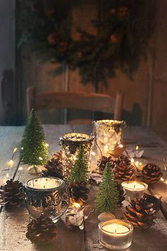 christmas table Still life of candles a - Christmas Table Settings, Christmas Tablescapes, Christmas Table Decorations, Winter Table Centerpieces, Christmas Candles, Christmas Lights, Rustic Christmas, Winter Christmas, Christmas Home