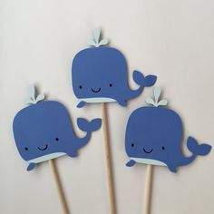Thanks for visiting my shop! This listing is for a 3 piece whale centerpiece. Each whale measures 4 and is attached to a 12 wooden dowel.  Colors may vary slightly.