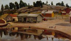 Hugo Simberg (1873-1917) Taidekokoelmat - Rantanäkymä Koivistosta / Shore View from Koivisto 1907 - Finland
