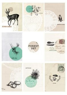 Forest Set- Digital PDF ACEO Tags for Download and Print. $5.00, via Etsy.