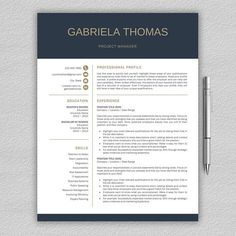 Professional Resume Samples Professional Resume Template For Word  1 And 2 Page Resume Template .