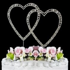 Vintage ~ Swarovski Crystal Wedding Cake Toppers ~ Hearts : Vintage ~ Swarovski Crystal Wedding Cake Topper ~ Double Silver Heart