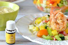 Shrimp with Israeli pepper salad
